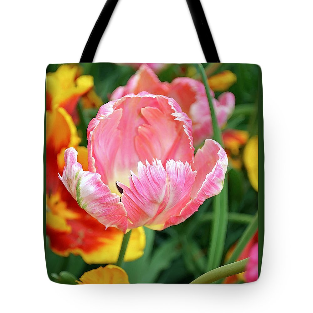 Nature Tote Bag featuring the digital art Pink Tulip by Eva Kaufman