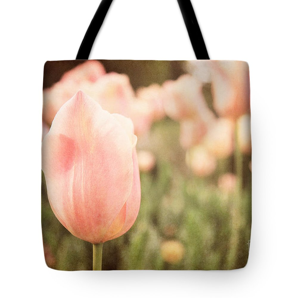 Tulips Tote Bag featuring the photograph Pink Tulip Field by Emily Kay