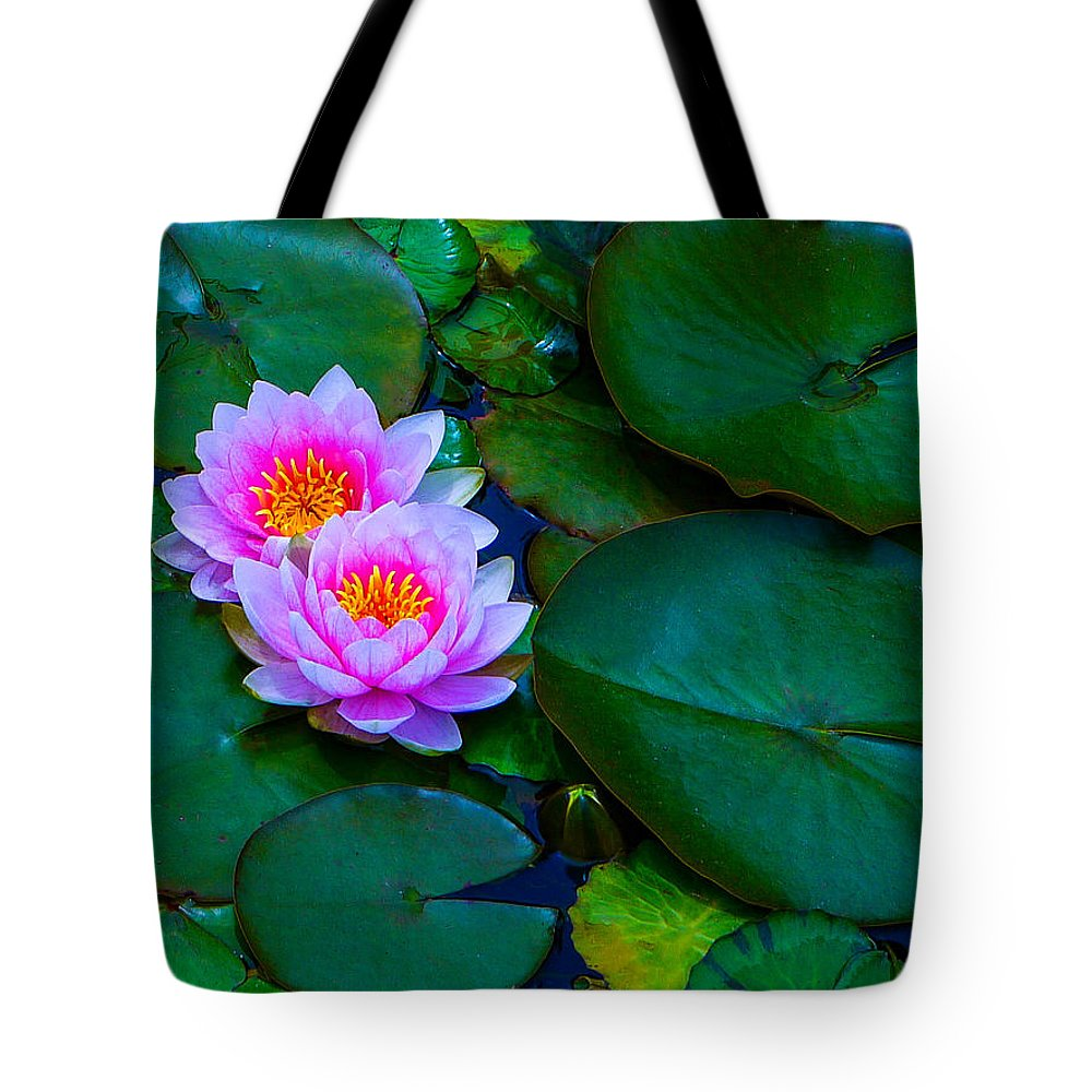 Water Tote Bag featuring the photograph Pink Water Lilies - Lotus by Jordan Blackstone