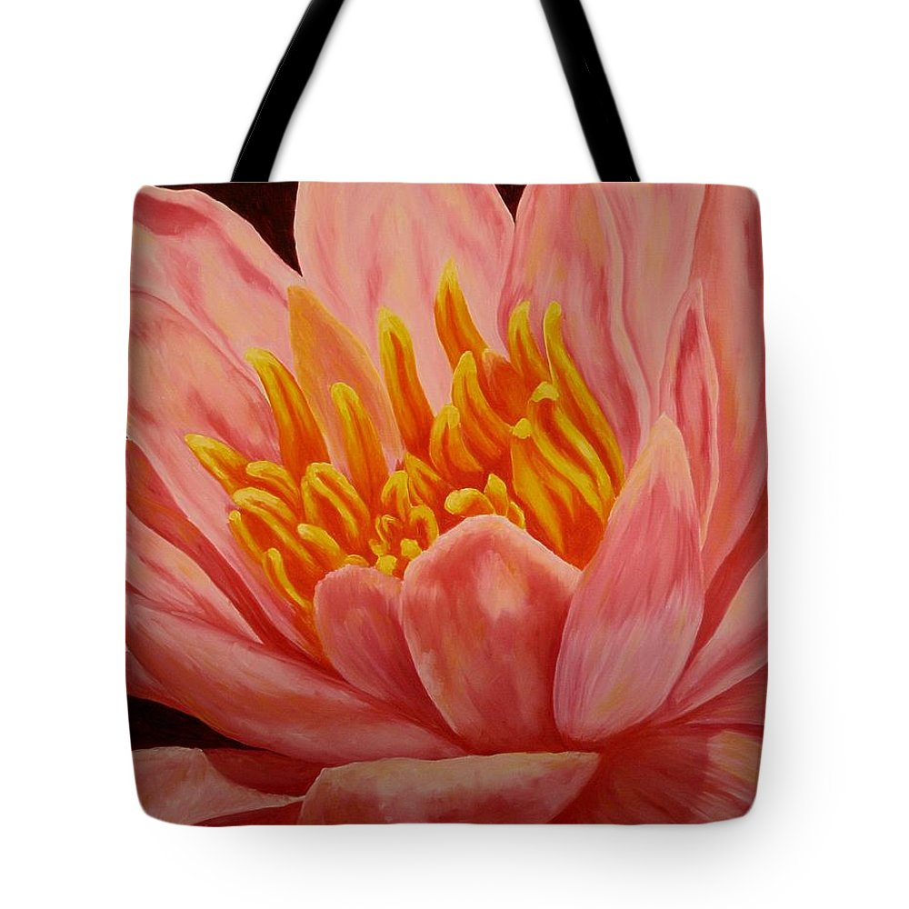 Oil Tote Bag featuring the painting Pink Waterlily by Darla Brock