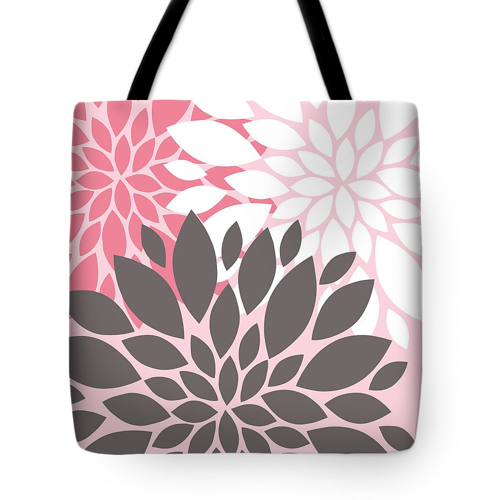 Pink Tote Bag featuring the digital art Pink White Grey Peony Flowers by Voros Edit