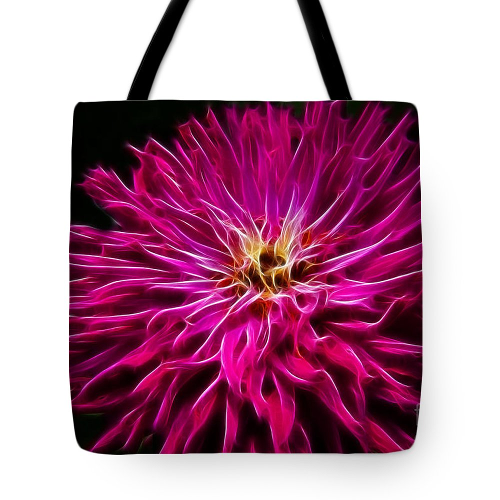 Zinnia Tote Bag featuring the photograph Pink Zinnia Digital Wave by Darleen Stry