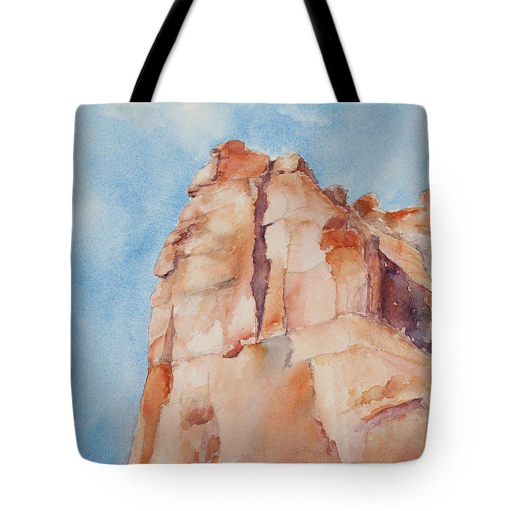Utah Tote Bag featuring the painting Pinnacle by Mary Benke