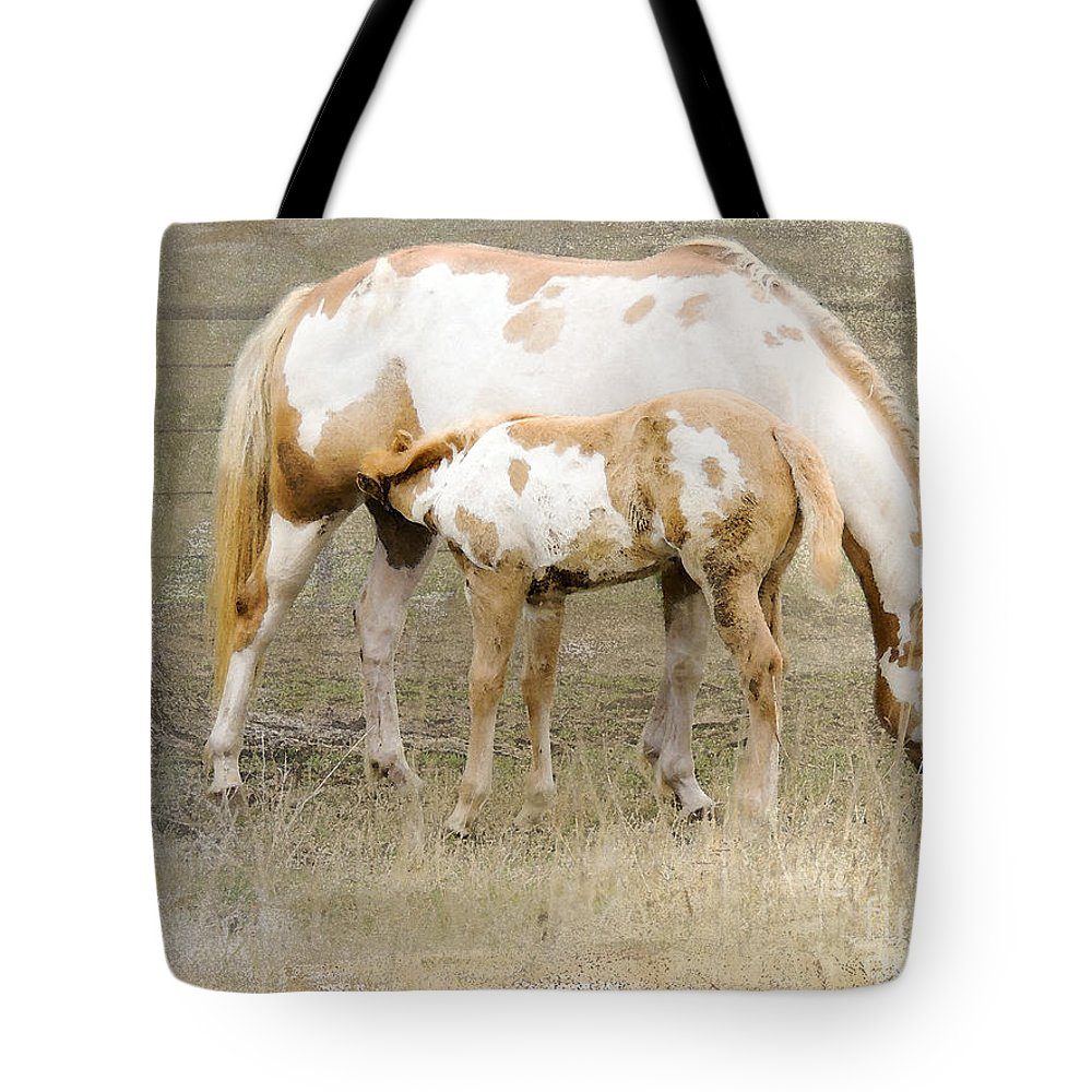 Equine Tote Bag featuring the photograph Pinto Mare And Filly by Betty LaRue