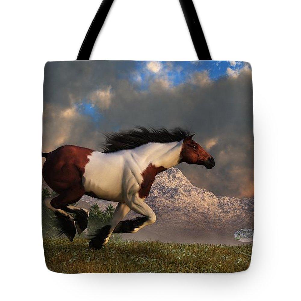 Hidalgo Tote Bag featuring the digital art Pinto Mustang Galloping by Daniel Eskridge