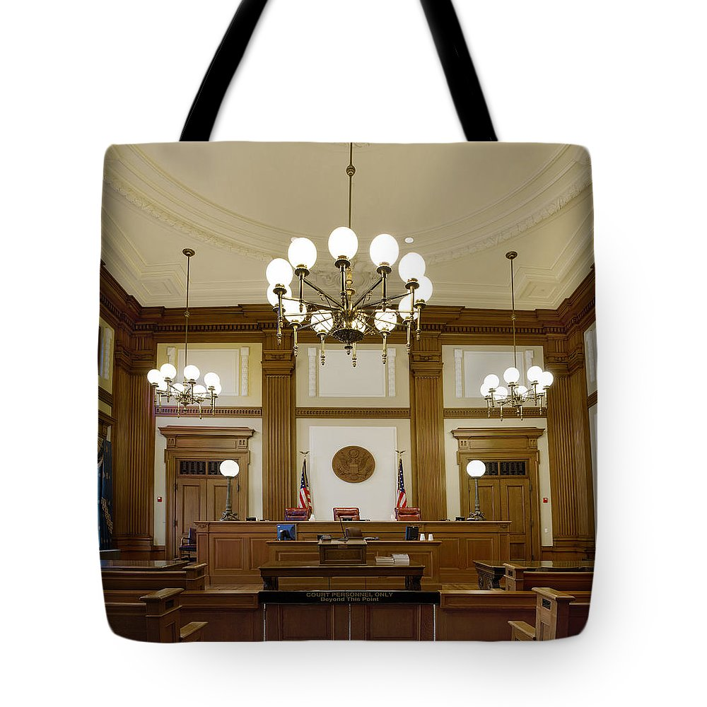 Chandeliers Tote Bag featuring the photograph Pioneer Courthouse Courtroom In Portland Oregon Downtown by Jit Lim