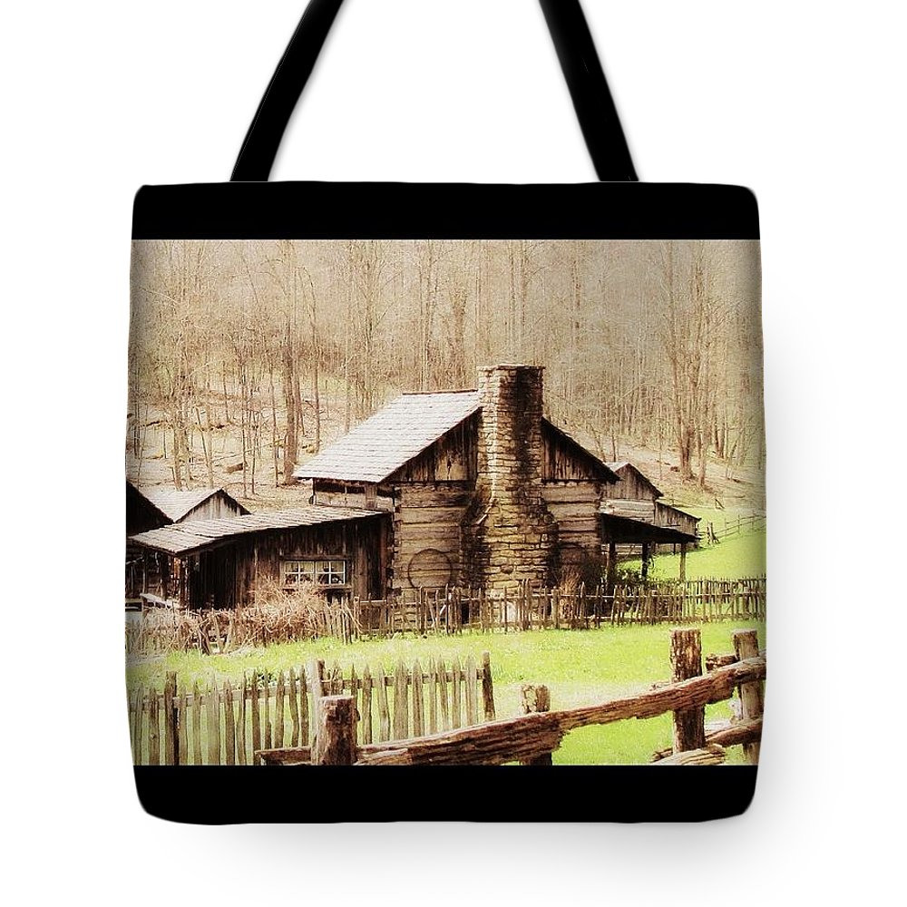 Farm log Cabin Farming Country Cabin Fences west Virginia pioneer Farm Tote Bag featuring the photograph Pioneer Farm by Beverly Canterbury