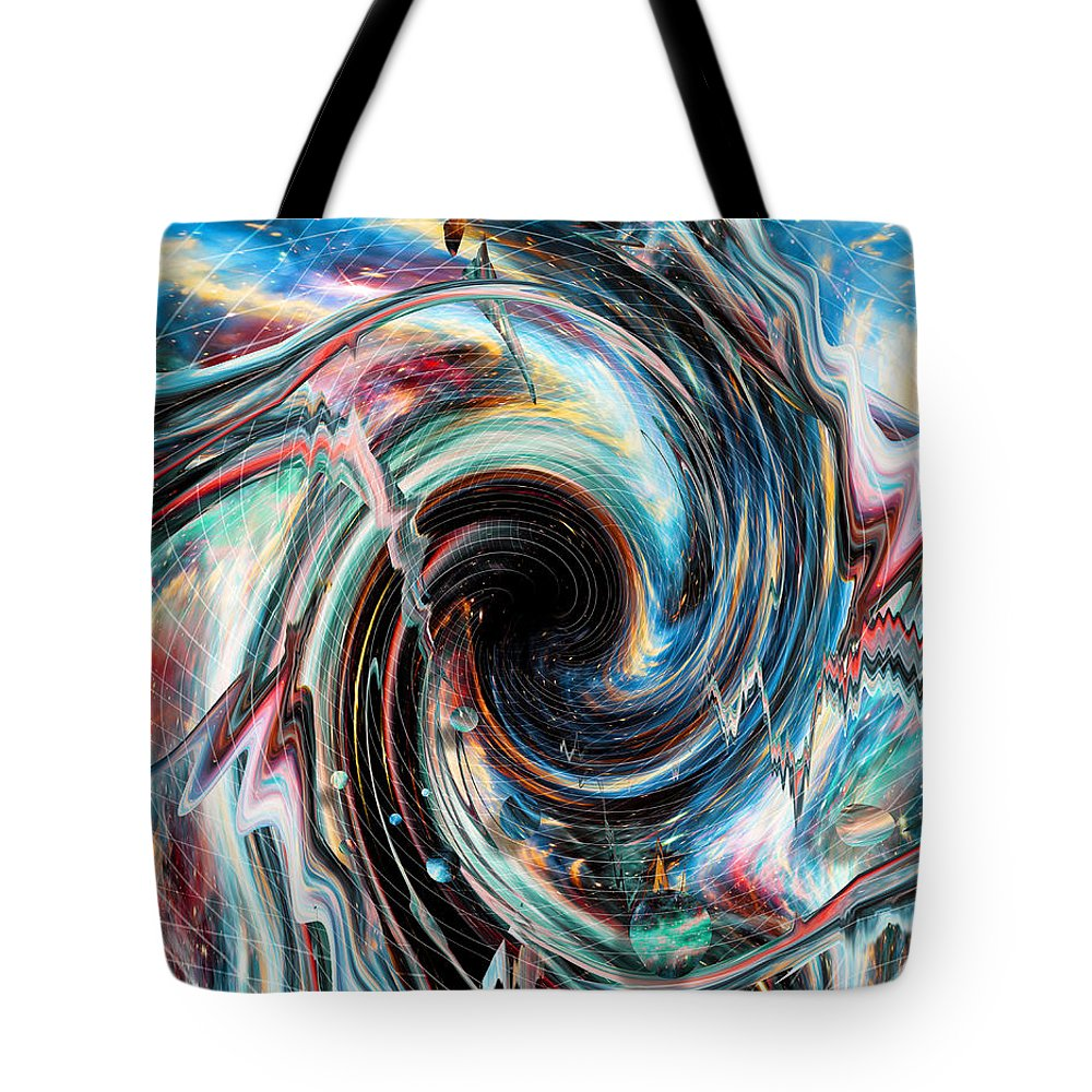 Trippy Tote Bag featuring the digital art Pipe Dream by Nicebleed