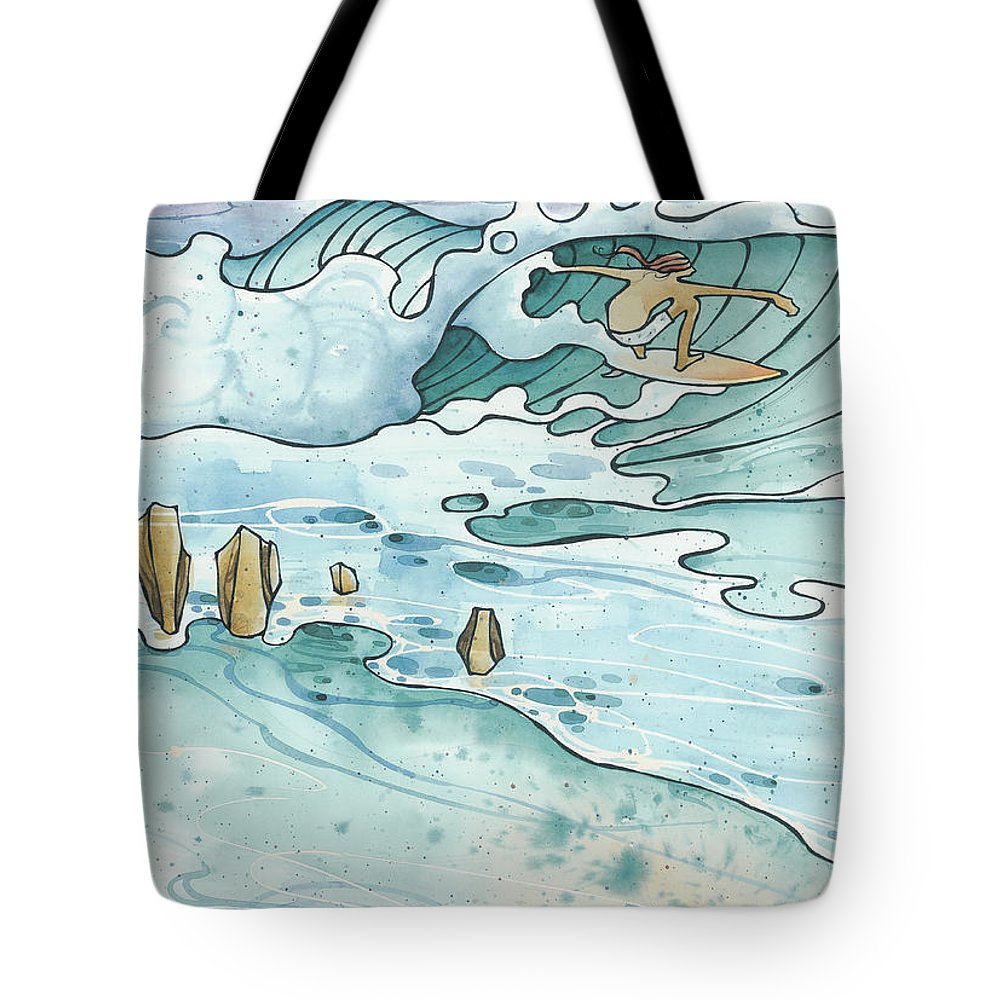 Fine Art Tote Bag featuring the painting Pipeline by Harry Holiday