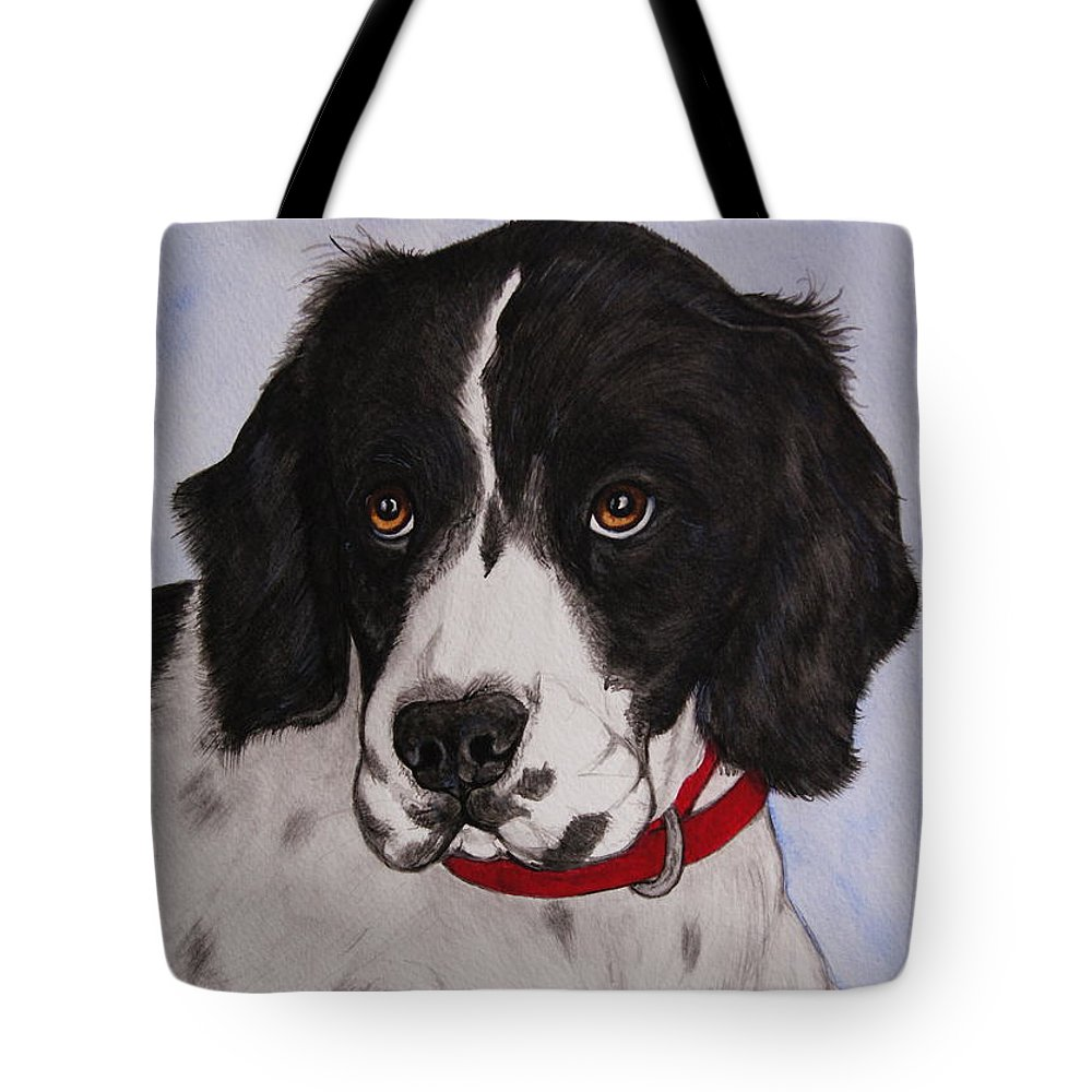 Dog Tote Bag featuring the painting Pippy The Springer Spaniel by Megan Cohen
