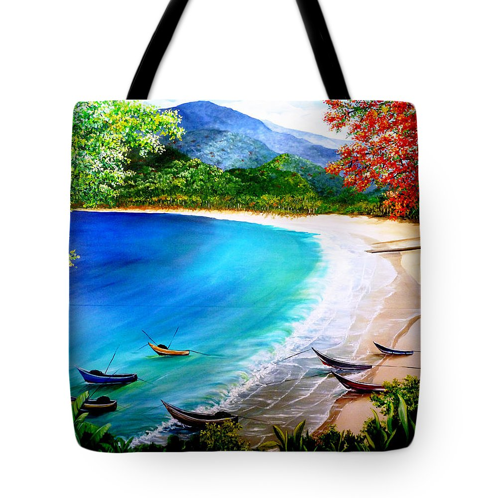 Fishing Boats Tote Bag featuring the painting Pirogues At Rest by Karin Dawn Kelshall- Best