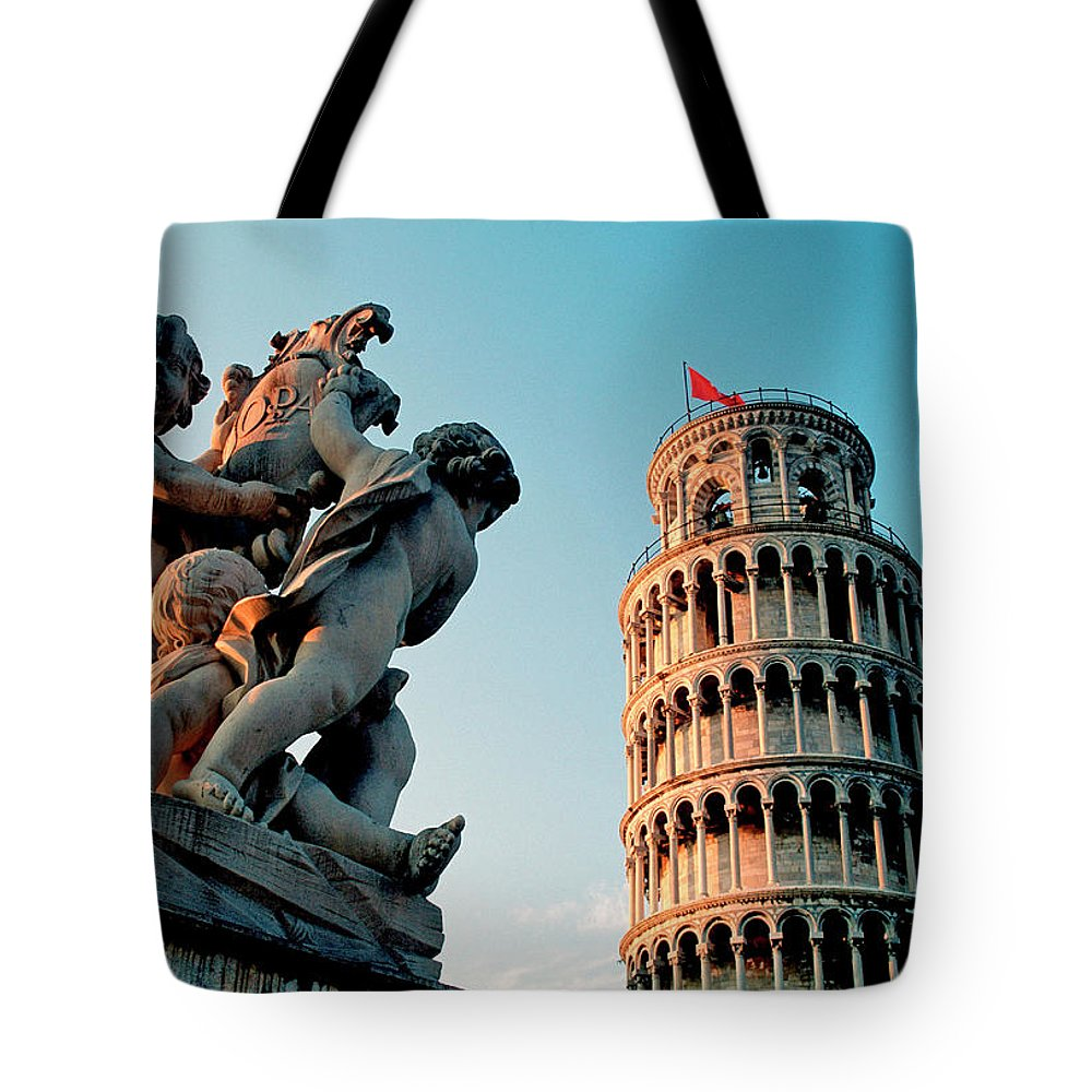 Statue Tote Bag featuring the photograph Pisa, Leaning Tower, Tuscany, Italy by Hans-peter Merten