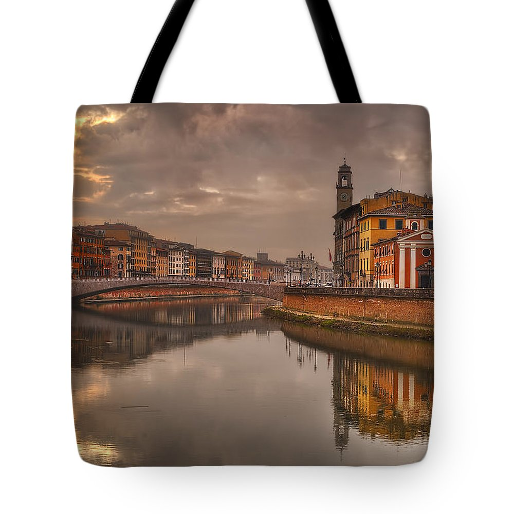 Italy Tote Bag featuring the photograph Pisa On The Arno by Robert Charity