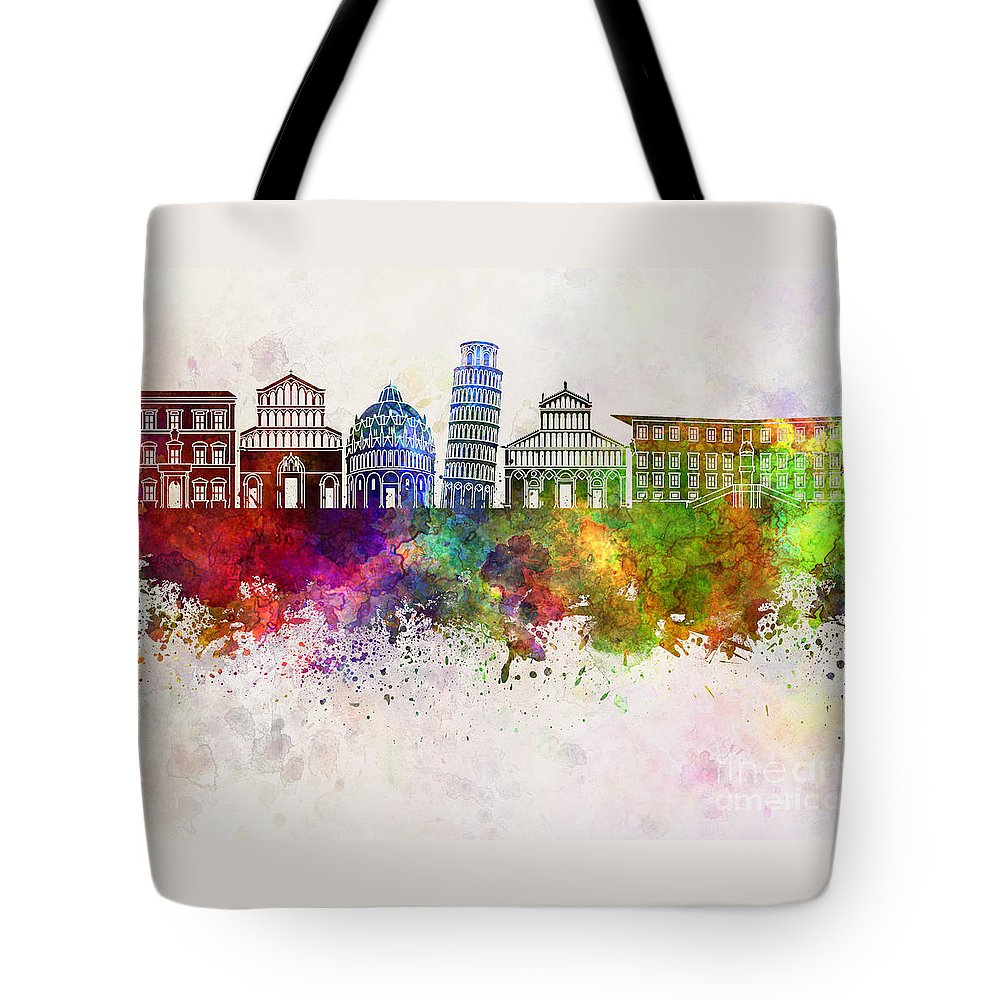 Pisa Skyline Tote Bag featuring the painting Pisa Skyline In Watercolor Background by Pablo Romero