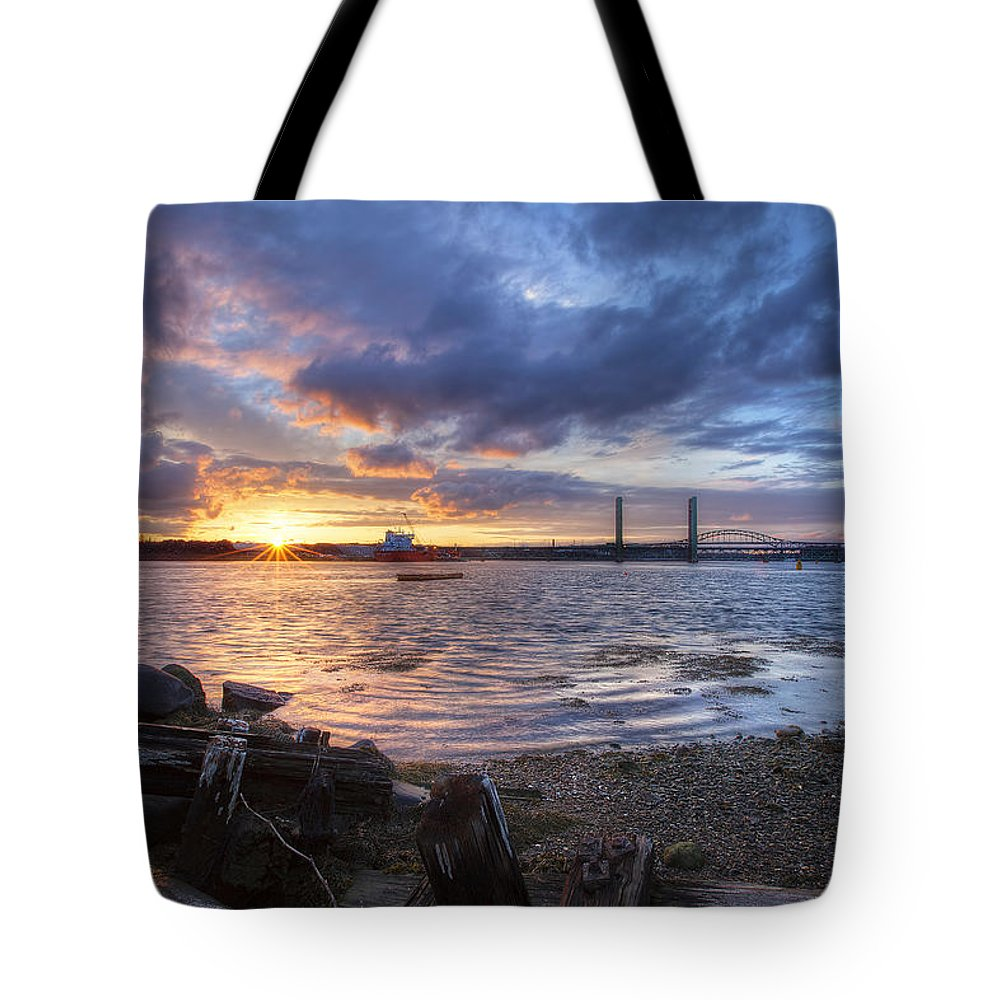 Piscataqua Sunset Tote Bag featuring the photograph Piscataqua Sunset by Eric Gendron