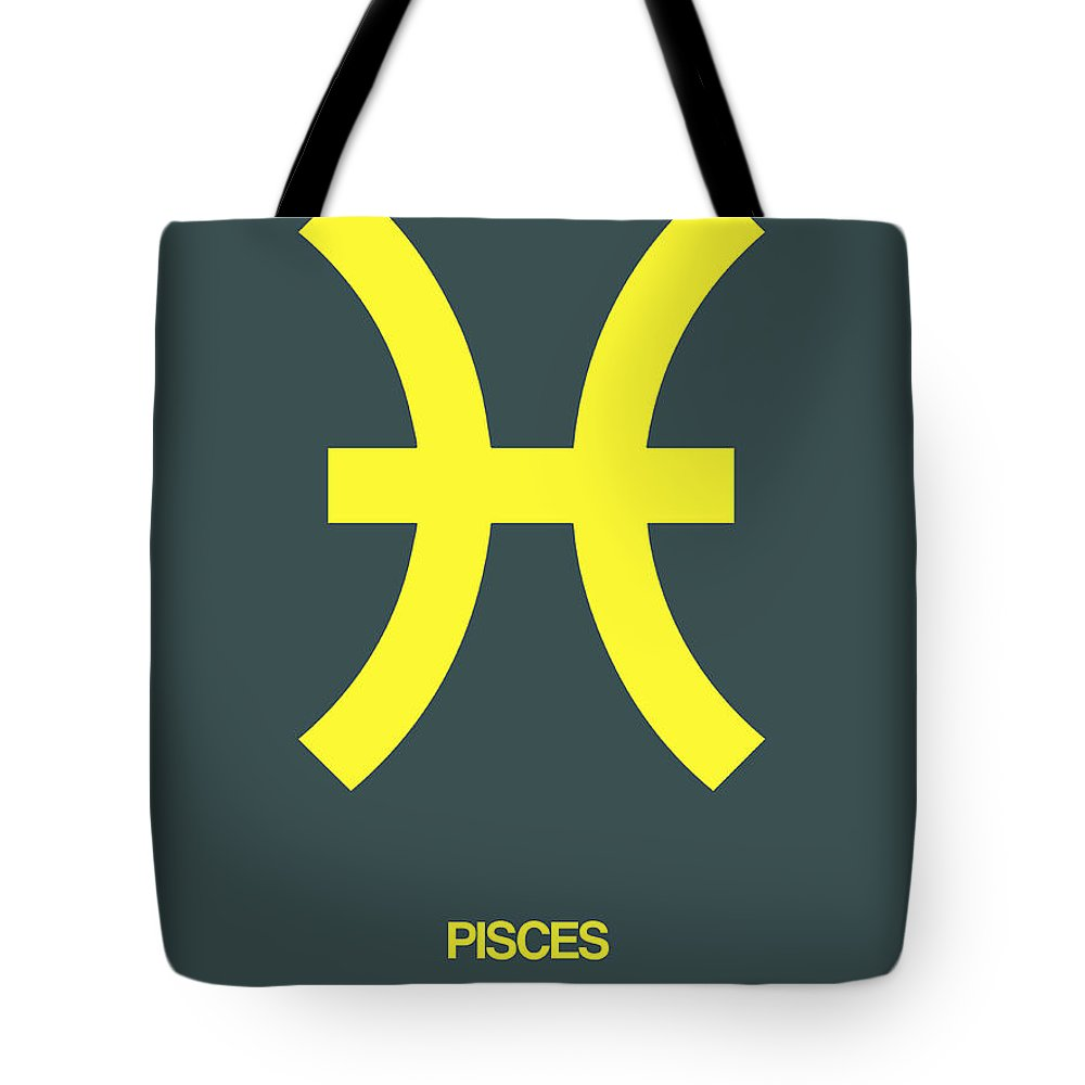 Pisces Tote Bag featuring the digital art Pisces Zodiac Sign Yellow by Naxart Studio