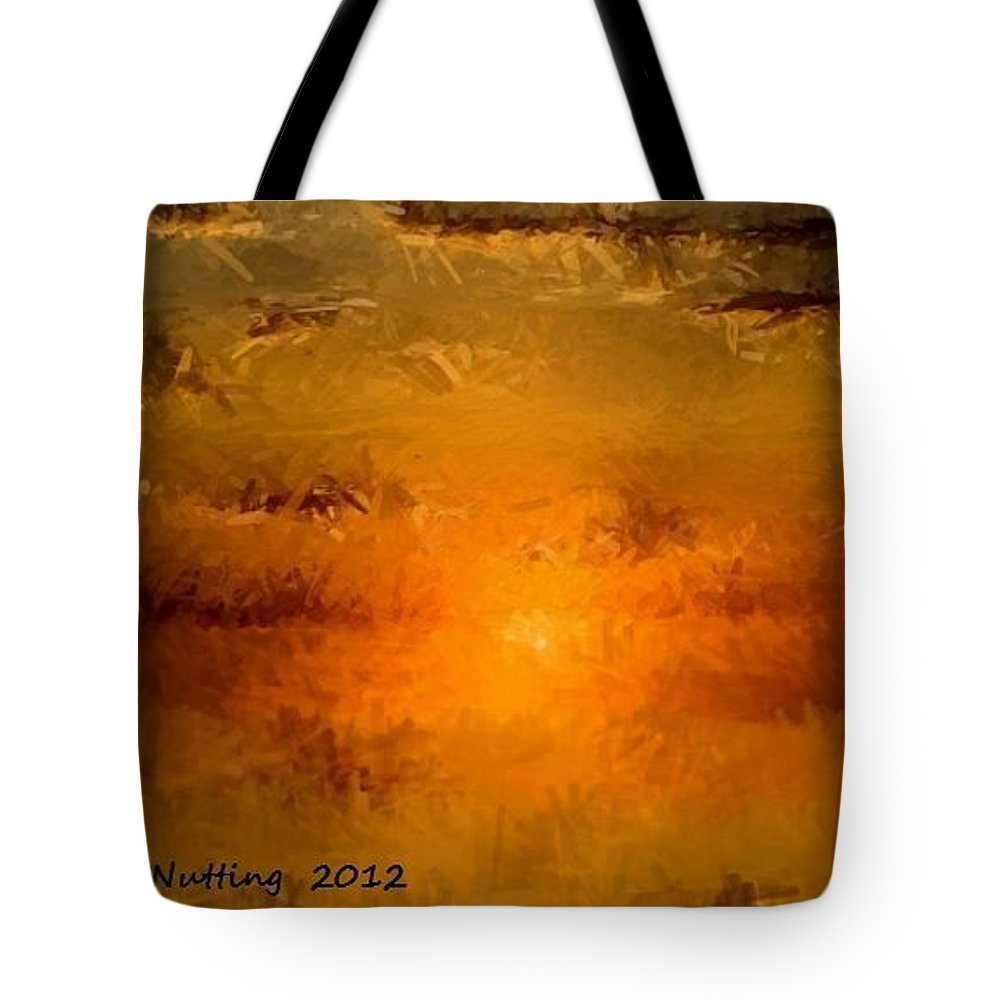 Sunset Tote Bag featuring the painting Pissaro Sunet by Bruce Nutting