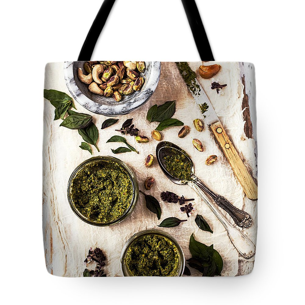 San Francisco Tote Bag featuring the photograph Pistachio Pesto With Mortar, Jars And by One Girl In The Kitchen