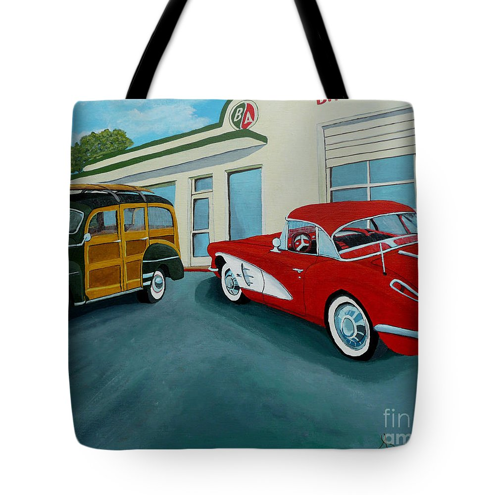 British American Tote Bag featuring the painting Pit Stop by Anthony Dunphy