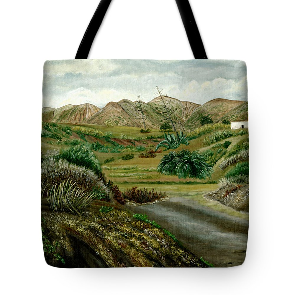 Pitas Tote Bag featuring the painting Pitas' Path by Angeles M Pomata