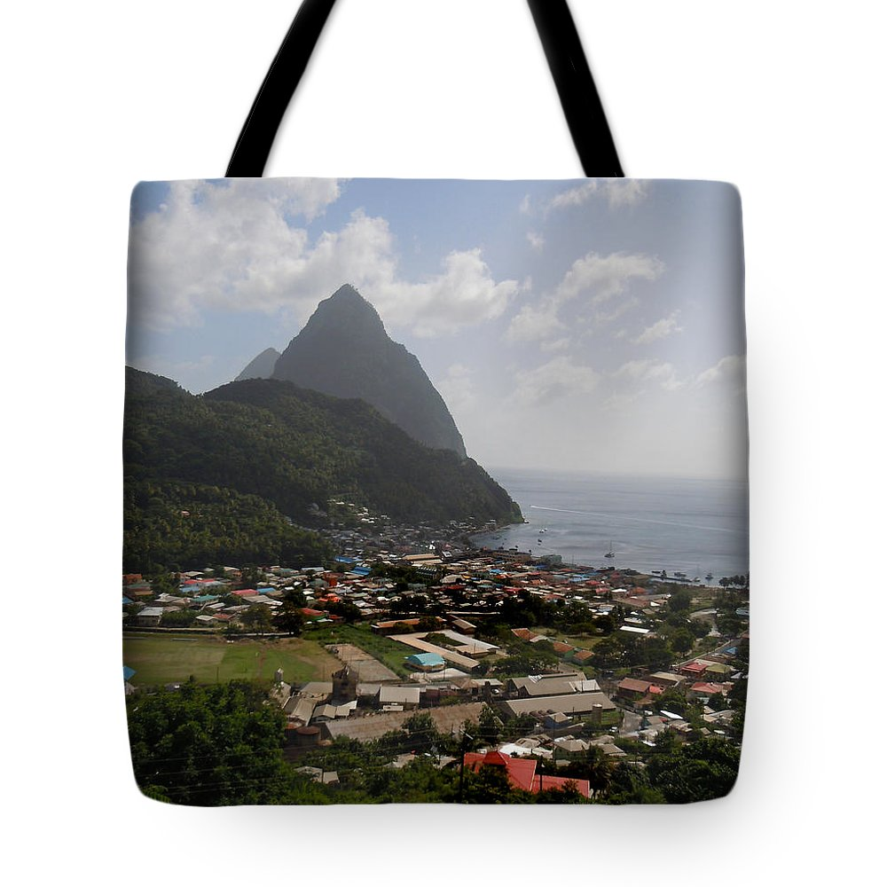 Pitons Tote Bag featuring the photograph Pitons St. Lucia by Heather Coen