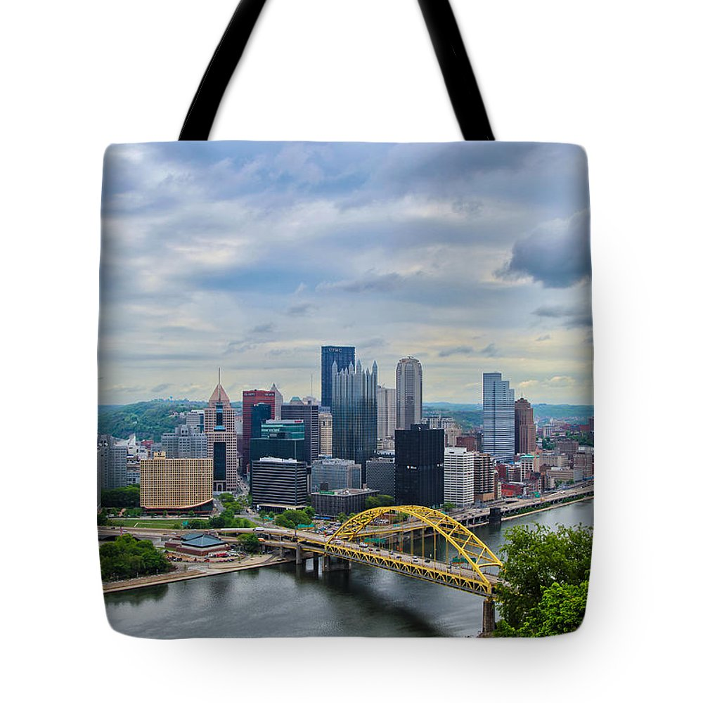 Pittsburgh Tote Bag featuring the photograph Pittsburgh And Above by Rachel Cohen