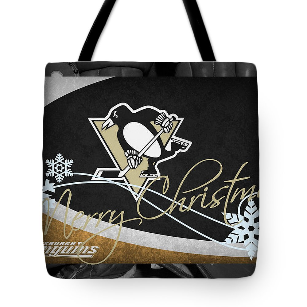 Penguins Tote Bag featuring the photograph Pittsburgh Penguins Christmas by Joe Hamilton