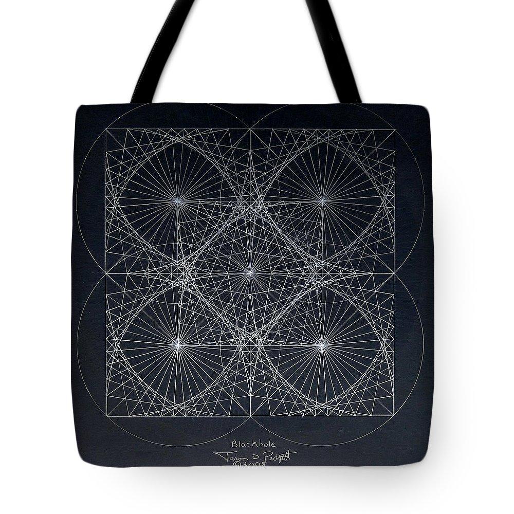 Tote Bag featuring the drawing Plancks Blackhole by Jason Padgett