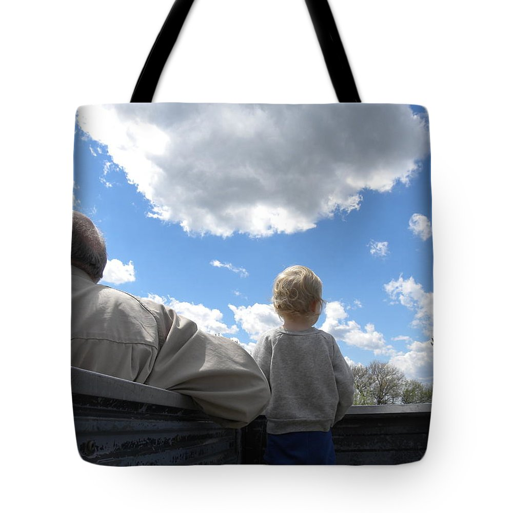 Plane Tote Bag featuring the photograph Plane Viewing From The Truck Bed by Sheri Lauren