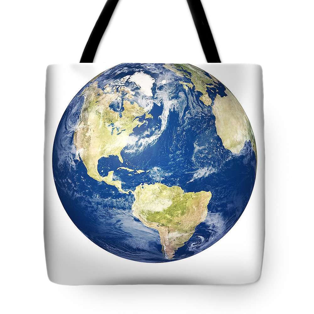 Argentina Tote Bag featuring the photograph Planet Earth On White - America by Johan Swanepoel