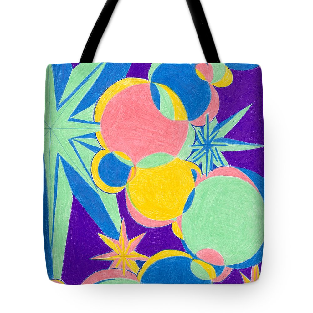 Color Tote Bag featuring the drawing Planets And Stars by Kim Sy Ok