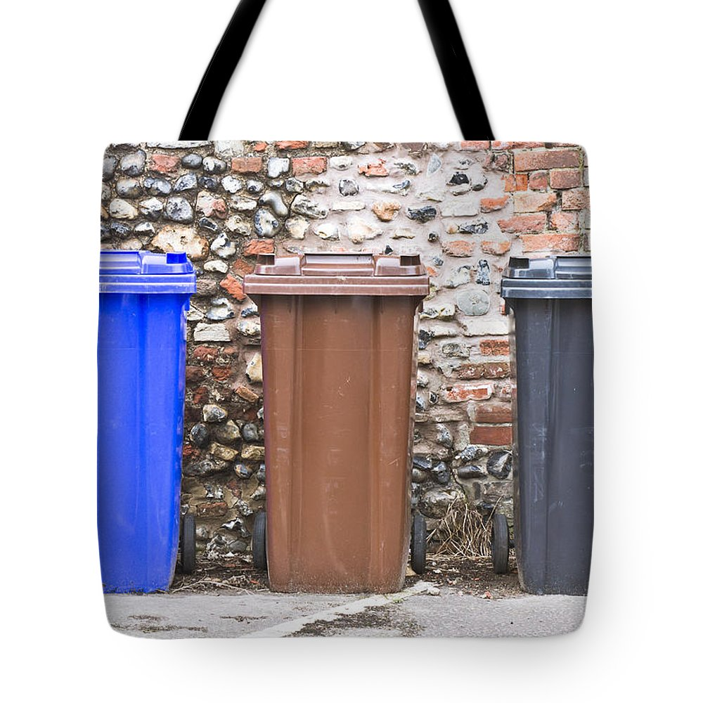 Bin Tote Bag featuring the photograph Plastic Bins by Tom Gowanlock