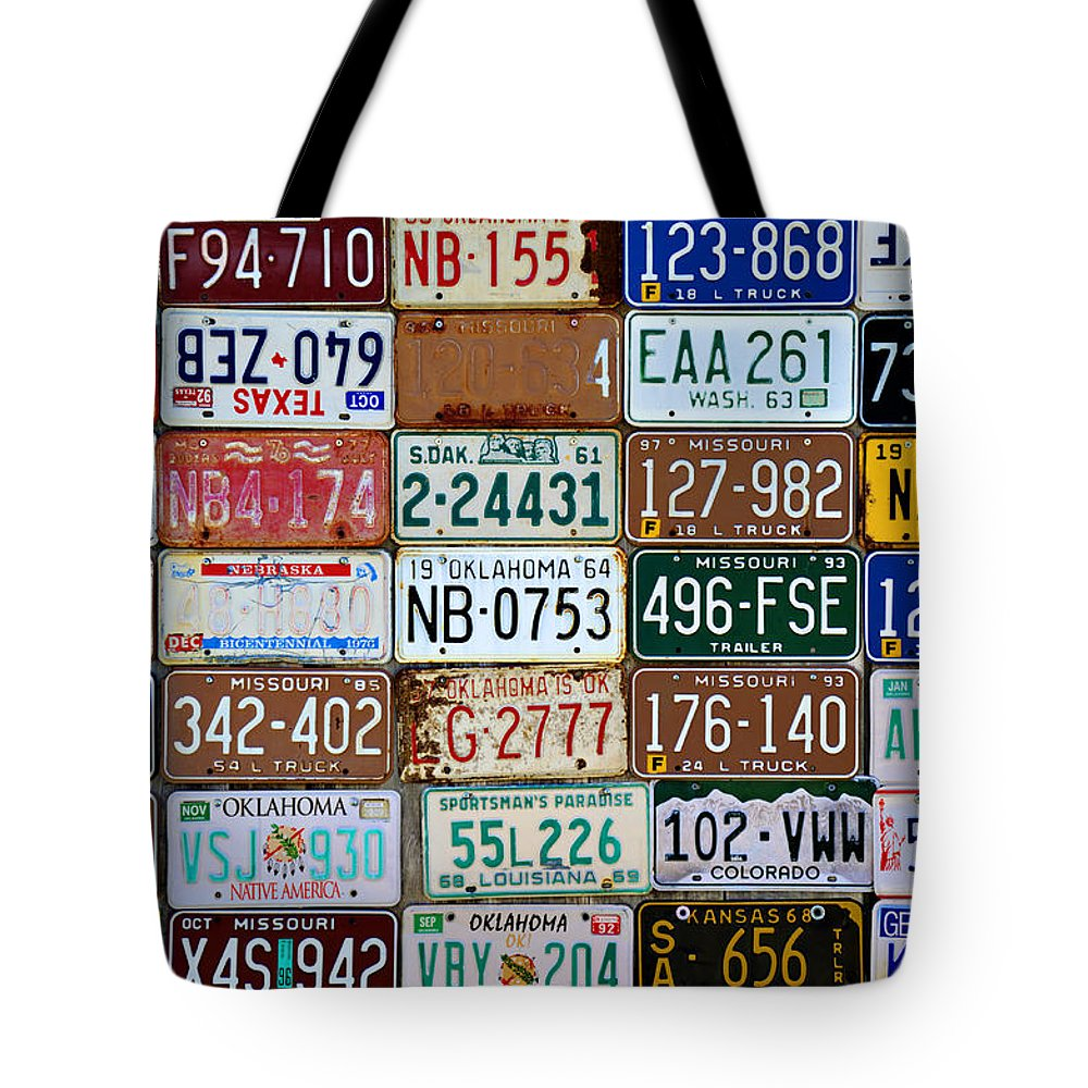 License Tote Bag featuring the photograph Plates by Ricky Barnard