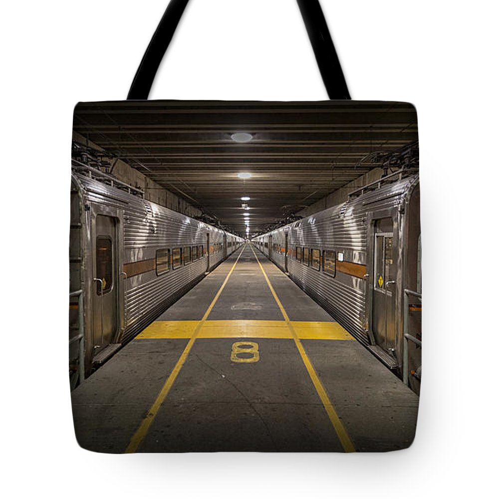 3scape Tote Bag featuring the photograph Platform Eight At Union Station by Adam Romanowicz