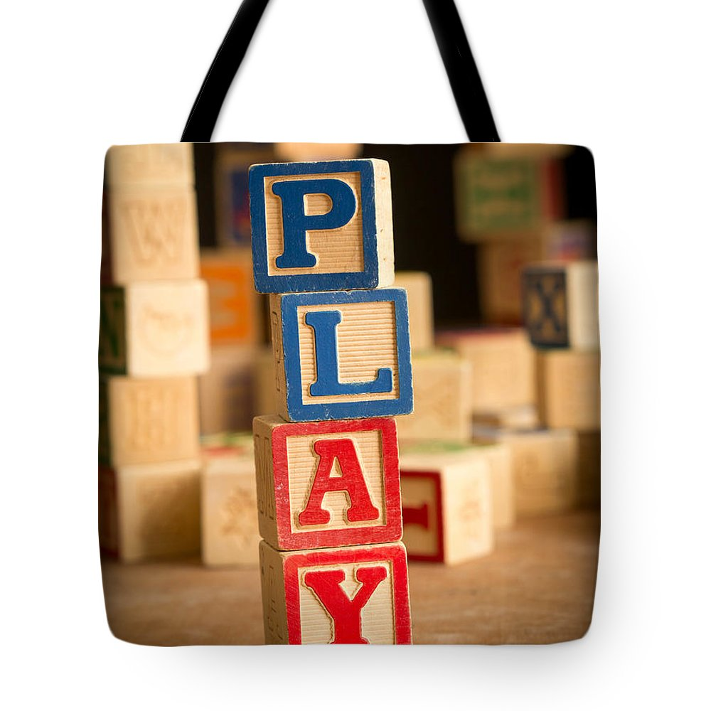 Abs Tote Bag featuring the photograph Play - Alphabet Blocks by Edward Fielding