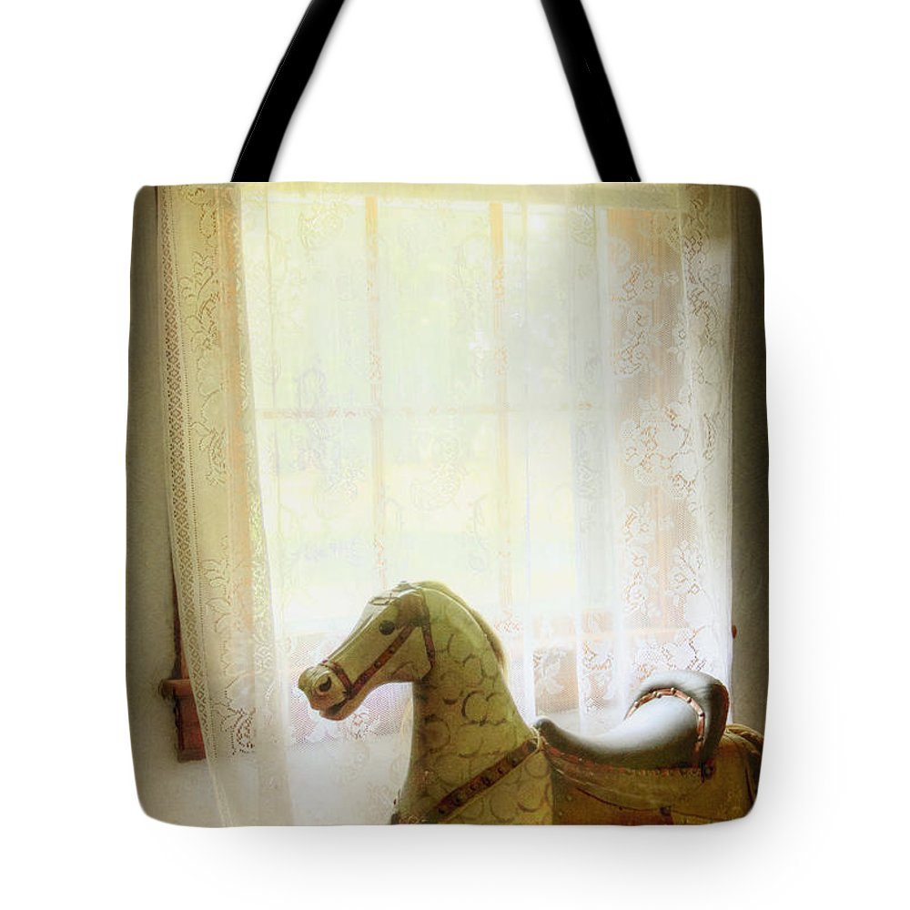 Rocking Horse; Toy; Wood; Vintage; Old; Child; Dark; Alone; Interior; Inside; Indoors; Room; Window; Lace; Drape; Curtain; Bright; Shadows; Wooden; Painted Tote Bag featuring the photograph Play Room by Margie Hurwich