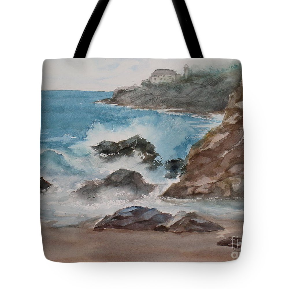 Bay Tote Bag featuring the painting Playa Zicatela Mexico by Mohamed Hirji