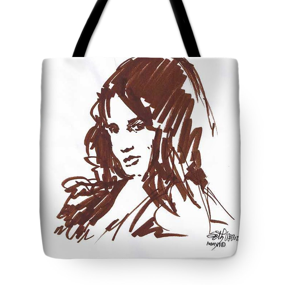 Playful Tote Bag featuring the drawing Playful by Seth Weaver