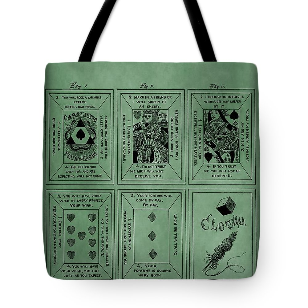 Playing Cards Patent Tote Bag featuring the digital art Playing Cards Patent Green by Dan Sproul