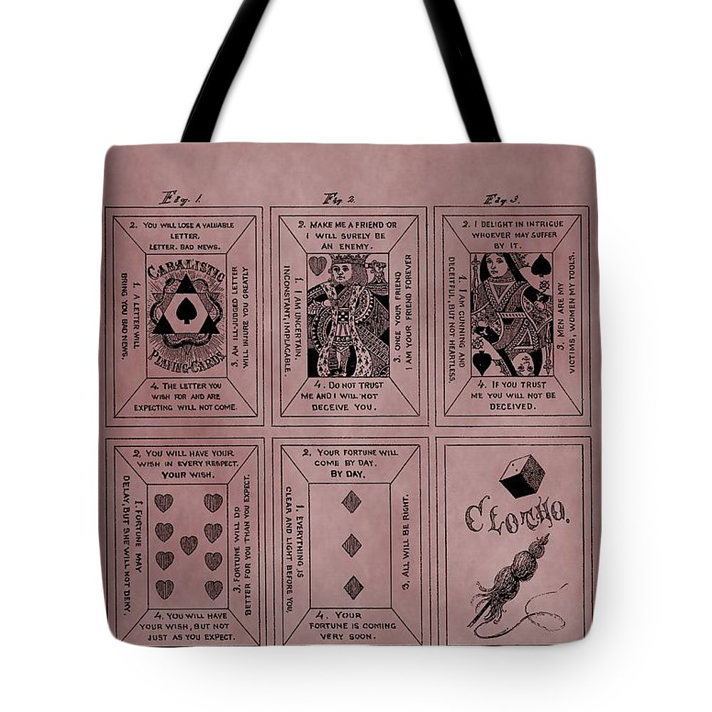 Playing Cards Patent Tote Bag featuring the mixed media Playing Cards Patent Red by Dan Sproul
