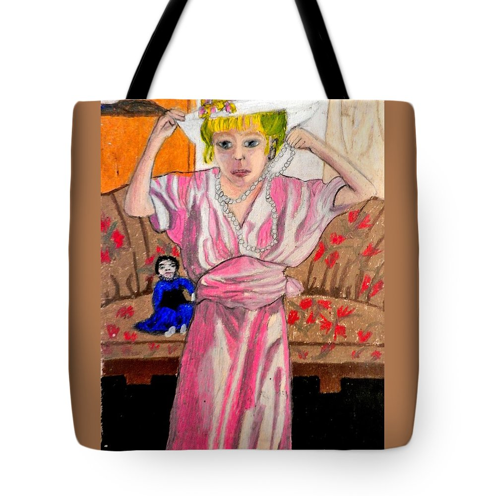 Child Tote Bag featuring the pastel Playing Dress Up by Jo-Ann Hayden