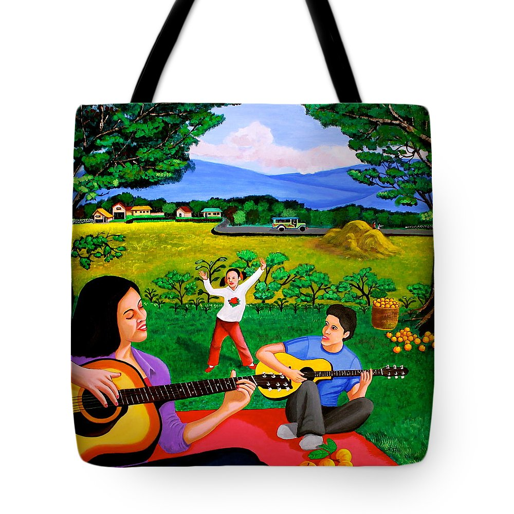 Guitar Tote Bag featuring the painting Playing Melodies Under The Shade Of Trees by Cyril Maza