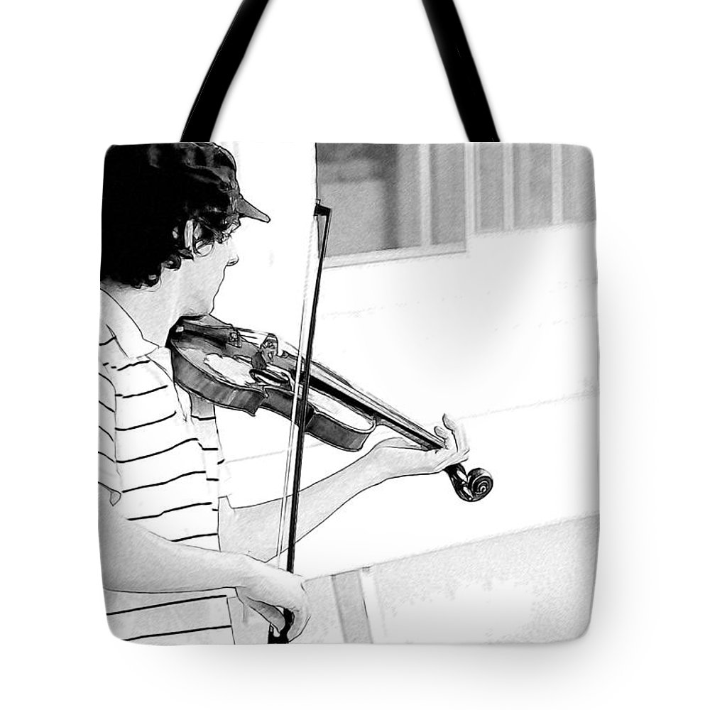 Violin Tote Bag featuring the photograph Playing Violin by Alice Gipson