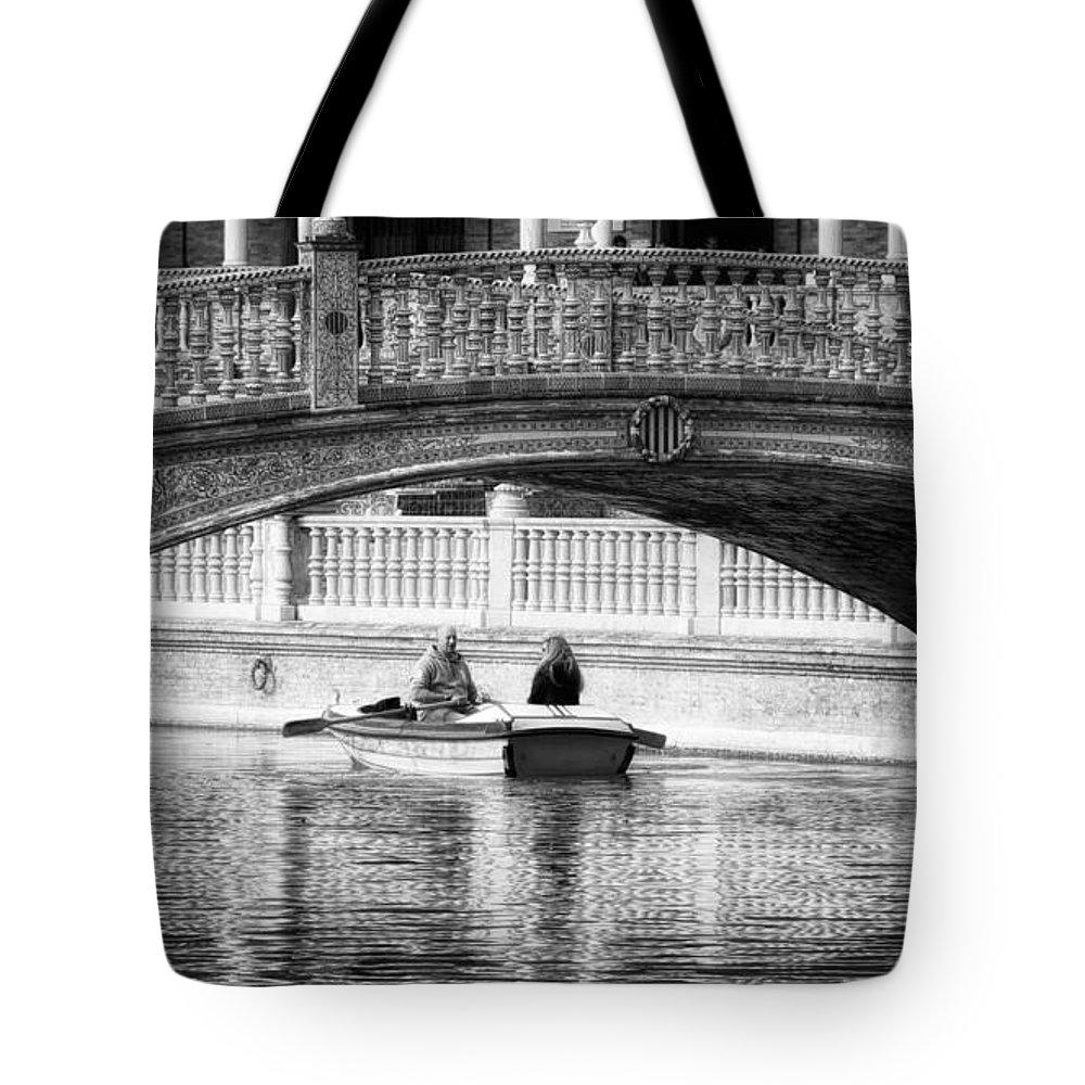 Joan Carroll Tote Bag featuring the photograph Plaza De Espana Rowboats Bw by Joan Carroll