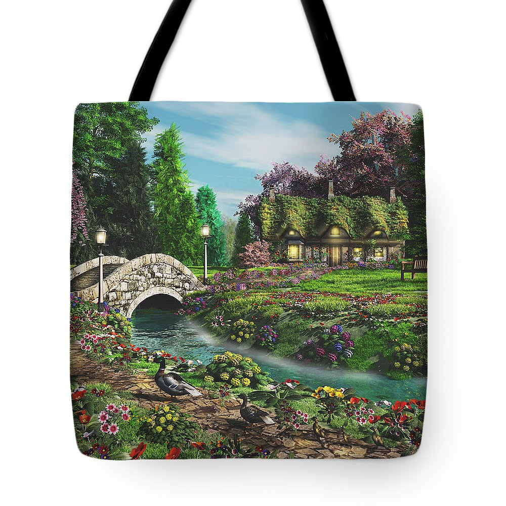 Art Licensing Tote Bag featuring the mixed media Pleasant Journey by Caplyn Dor