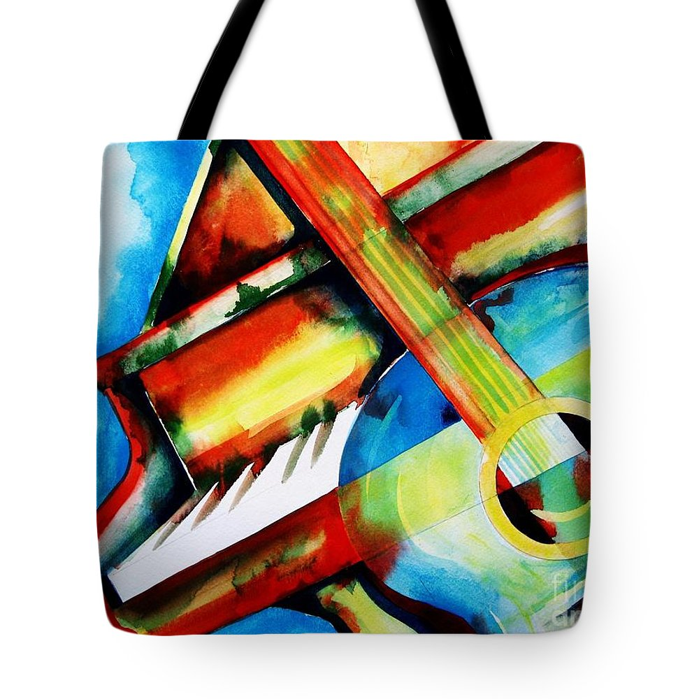 Piano Tote Bag featuring the painting Plink And Strum by Frances Ku