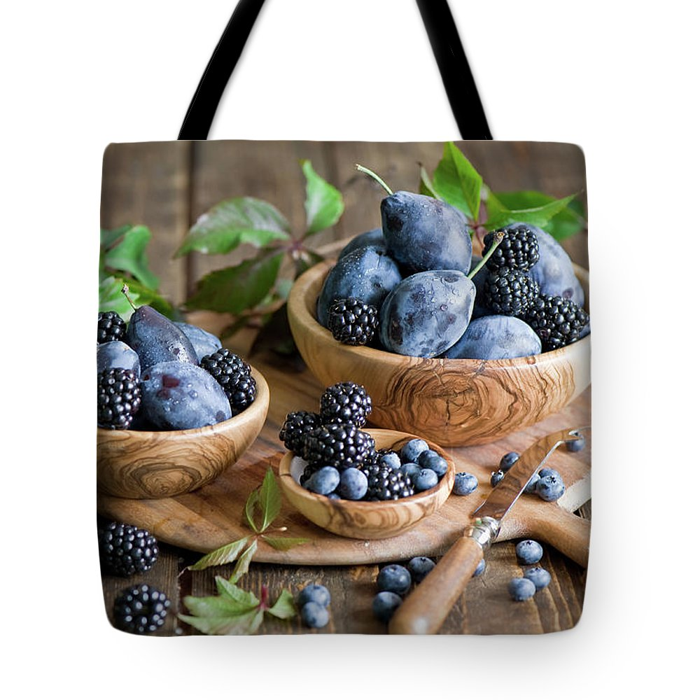 Plum Tote Bag featuring the photograph Plums And Berries by Verdina Anna