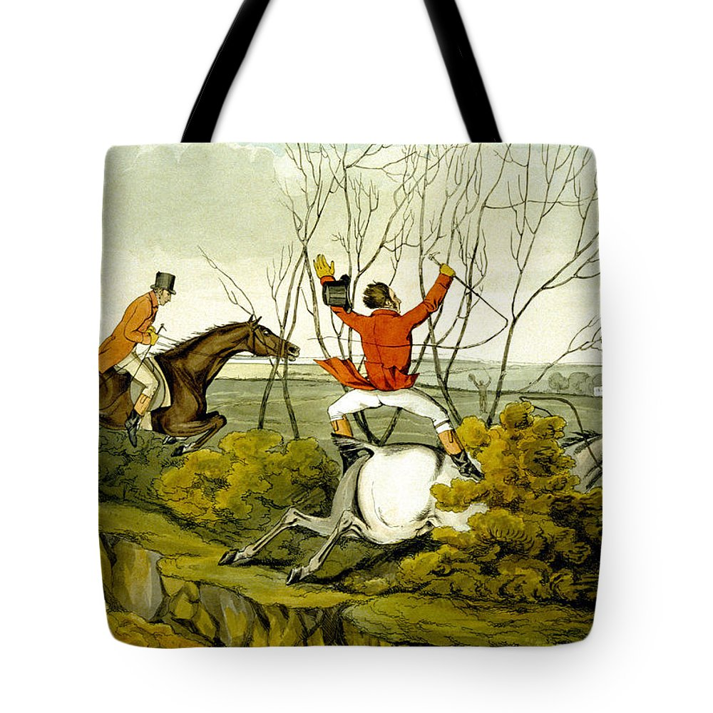 Ditch; Jumping; Grey; Horse; Hunter; Hunting; Rider; Horseback; Unseated; Unhorsed; Falling; Landscape; Accident; Sport; Comical; Humorous Tote Bag featuring the painting Plunging Through The Hedge From Qualified Horses And Unqualified Riders by Henry Thomas Alken