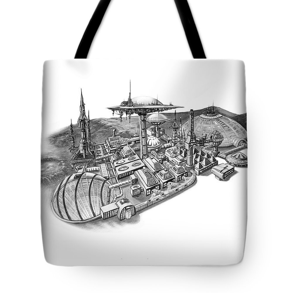 Pencil Illustration Tote Bag featuring the drawing Pluto City by Murphy Elliott