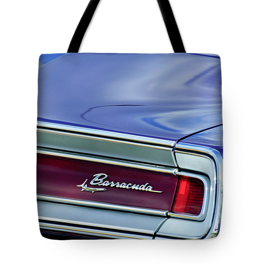 Plymouth Barracuda Taillight Emblem Tote Bag featuring the photograph Plymouth Barracuda Taillight Emblem by Jill Reger